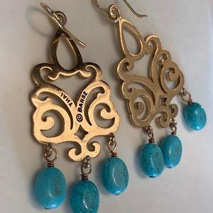 Barse! Bronze Turquoise Chandelier Earrings!
